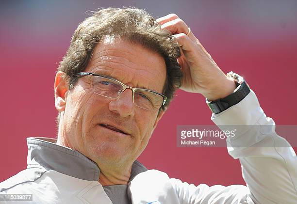 England manager Fabio Capello looks on during the England training session ahead of their Euro 2012 qualifier against Switzerland at Wembley Stadium...
