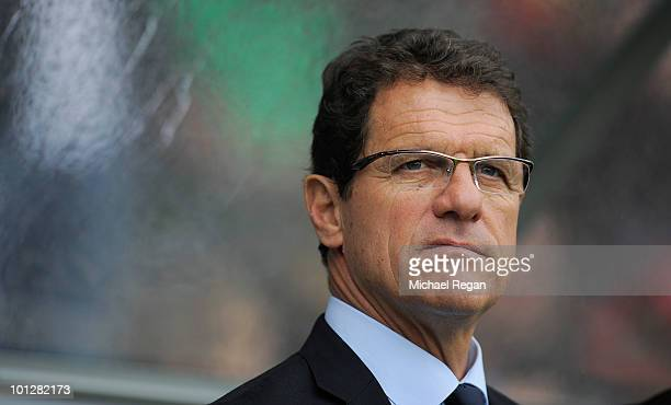 England manager Fabio Capello looks on during the International Friendly match between Japan and England at the UPC-Arena on May 30, 2010 in Graz,...