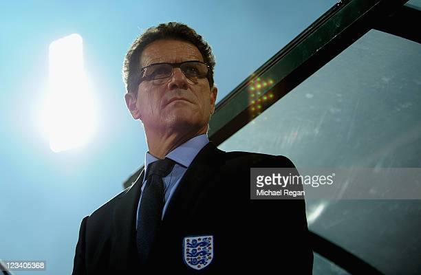 England manager Fabio Capello looks on during the UEFA EURO 2012 group G qualifying match between Bulgaria and England at the Vasil Levski National...