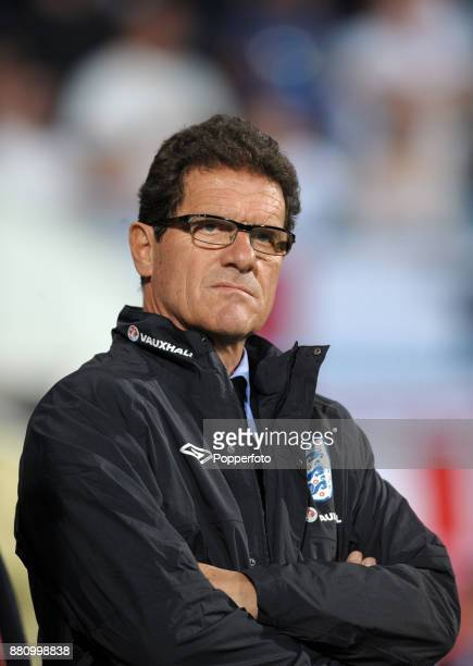 England manager Fabio Capello looks on during the UEFA Euro 2012 Qualifier between Montenegro and England at the City Stadium on October 07 2011 in...