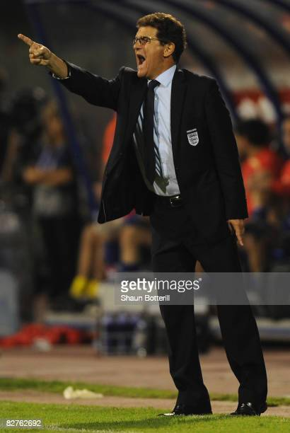 England Manager Fabio Capello shouts instructions to his players during the FIFA 2010 World Cup Qualifying Group Six match between Croatia and...