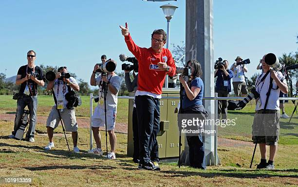 England manager Fabio Capello speaks to a photographer during the England training session at the Royal Bafokeng Sports Campus on June 9 2010 in...