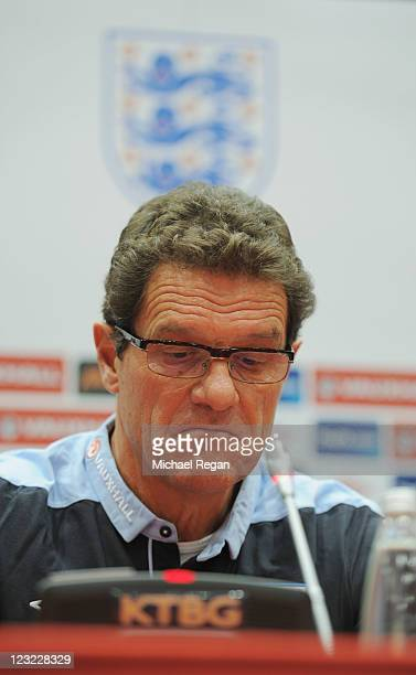 England manager Fabio Capello speaks to the media ahead of the England training session ahead of their UEFA EURO 2012 Group G qualifier against...