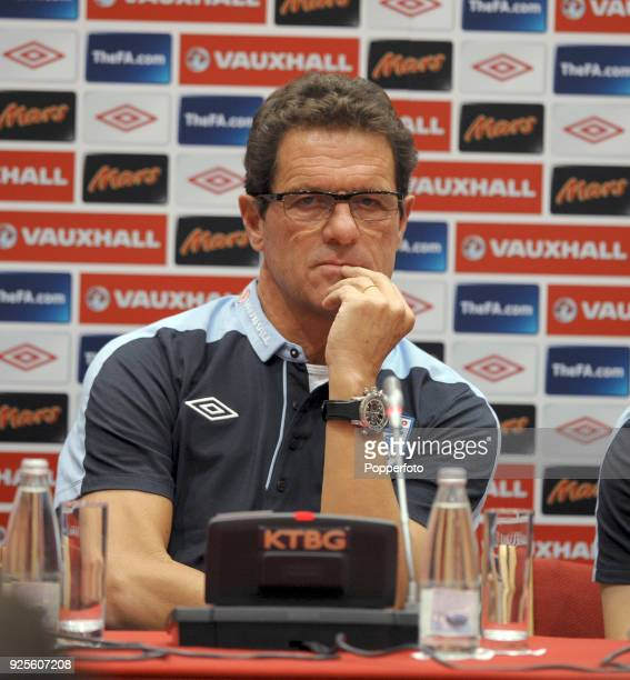 England manager Fabio Capello speaks to the media before an England training session ahead of their UEFA EURO 2012 Group G qualifier against Bulgaria...