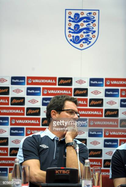 England manager Fabio Capello speaks to the media before the England training session ahead of their UEFA EURO 2012 Group G qualifier against...