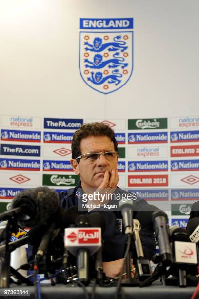 England manager Fabio Capello speaks to the media during a press conference at London Colney on March 2 2010 in St Albans England