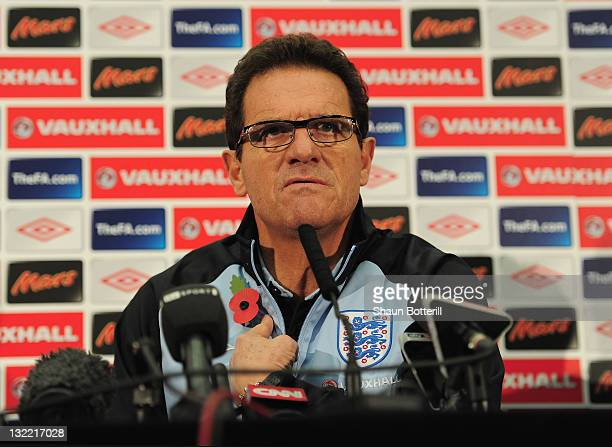 England manager Fabio Capello talks to the media during a press conference at Wembley Stadium on November 11, 2011 in London, England.