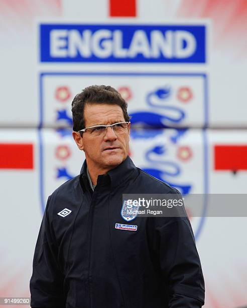 England manager Fabio Capello walks out to the England training session at London Colney on October 6, 2009 in St Albans, England.