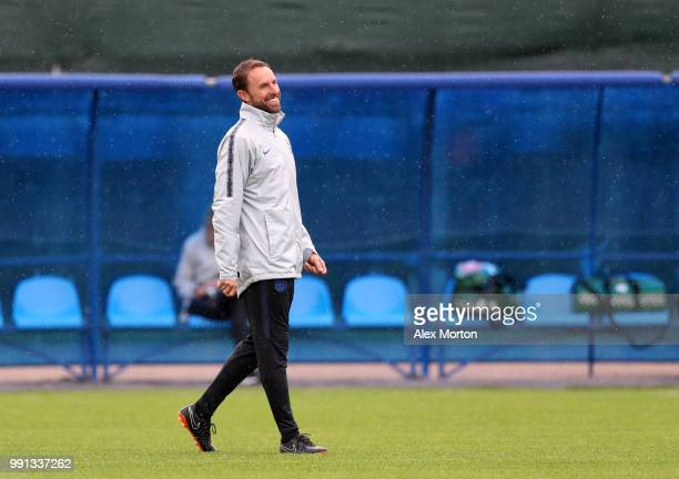 England manager Gareth Southgate all smiles during an England training session on July 4 2018 in Saint Petersburg Russia