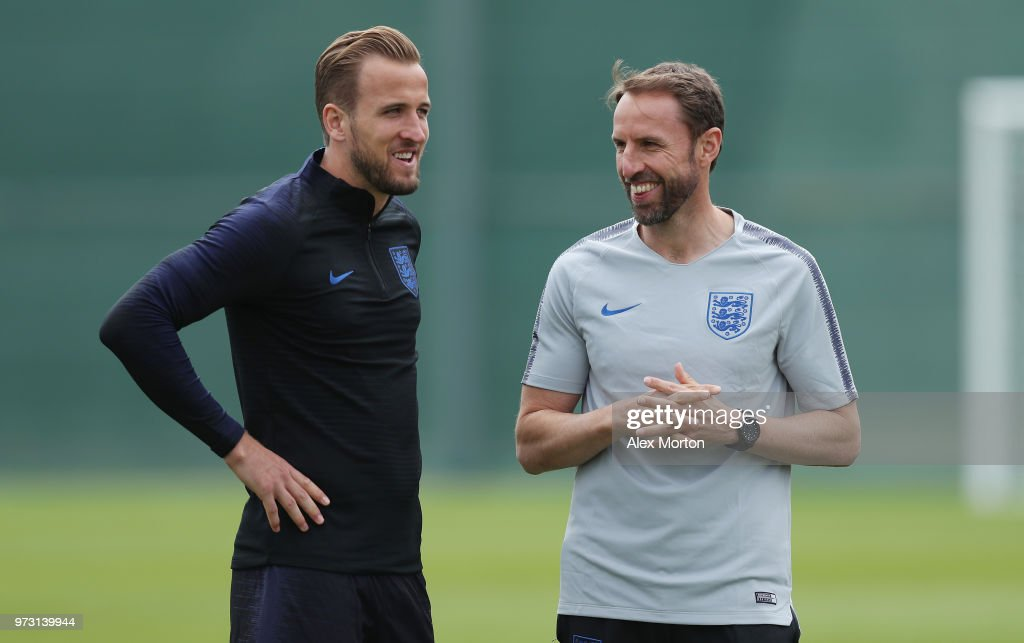 England manager Gareth Southgate and captain Harry Kane during a training session as part of the England media access at Spartak Zelenogorsk Stadium ahead of the FIFA World Cup 2018 on June 13, 2018 in Saint Petersburg, Russia.