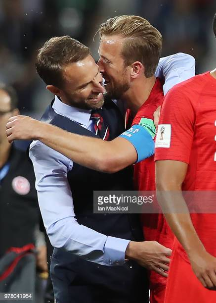 England manager Gareth Southgate and Harry Kane of England are seen at full time during the 2018 FIFA World Cup Russia group G match between Tunisia...