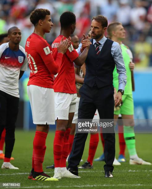 England manager Gareth Southgate and Marcus Rashford of England are seen during the 2018 FIFA World Cup Russia 3rd Place Playoff match between...