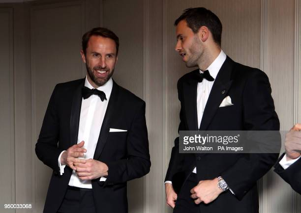 England manager Gareth Southgate and PFA chairman Ben Purkiss during the 2018 PFA Awards at the Grosvenor House Hotel London