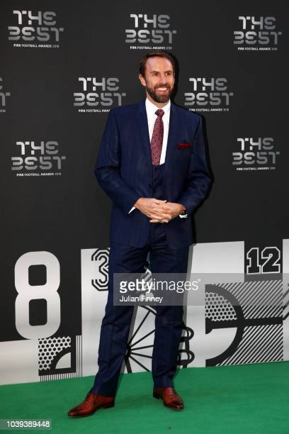 England Manager Gareth Southgate arrives on the Green Carpet ahead of The Best FIFA Football Awards at Royal Festival Hall on September 24 2018 in...