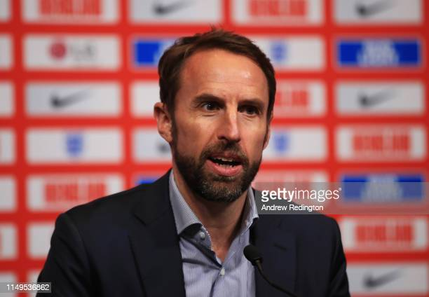 England manager Gareth Southgate attends a press conference to announce the England squad for the UEFA Nations League matches at Wembley Stadium on...