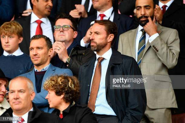 England manager Gareth Southgate attends the English Premier League football match between Sheffield United and Liverpool at Bramall Lane in...