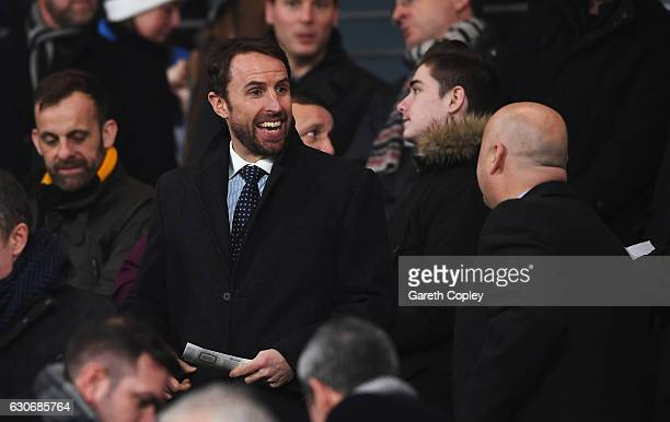 England manager Gareth Southgate attends the Premier League match between Hull City and Everton at KCOM Stadium on December 30 2016 in Hull England