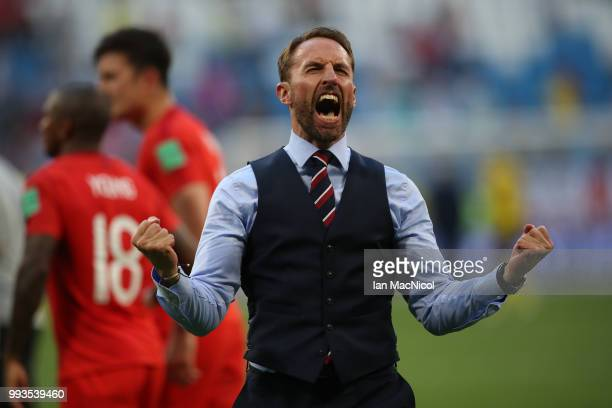England manager Gareth Southgate celebrates during the 2018 FIFA World Cup Russia Quarter Final match between Sweden and England at Samara Arena on...