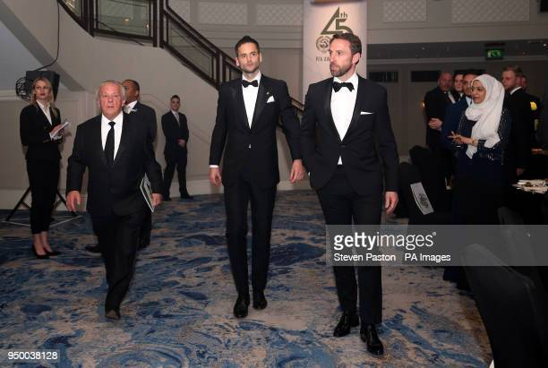 England manager Gareth Southgate Chief Executive of the PFA Gordon Taylor and PFA chairman Ben Purkiss during the 2018 PFA Awards at the Grosvenor...
