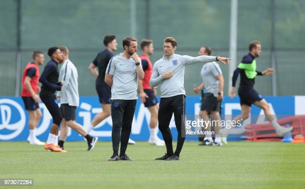 England manager Gareth Southgate during a training session as part of the England media access at Spartak Zelenogorsk Stadium ahead of the FIFA World...