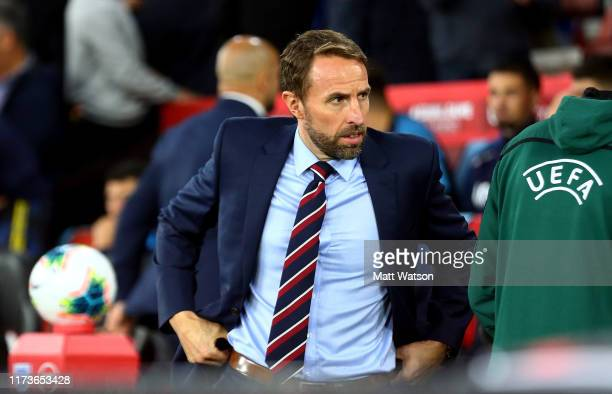 England manager Gareth Southgate during the UEFA Euro 2020 qualifier match between England and Kosovo at St Mary's Stadium on September 10 2019 in...