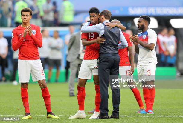 England manager Gareth Southgate embraces Marcus Rashford after the FIFA World Cup third place playoff match at Saint Petersburg Stadium