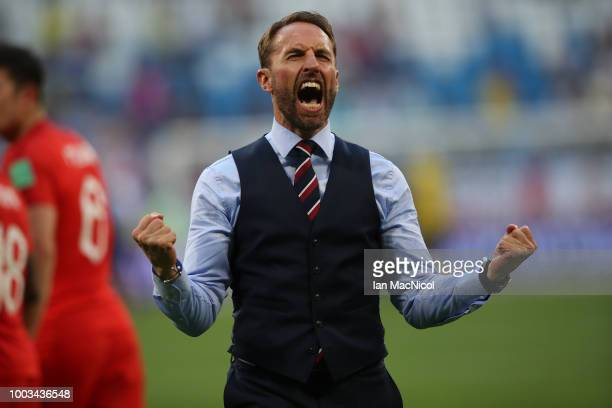 England manager Gareth Southgate is seen during the 2018 FIFA World Cup Russia Quarter Final match between Sweden and England at Samara Arena on July...