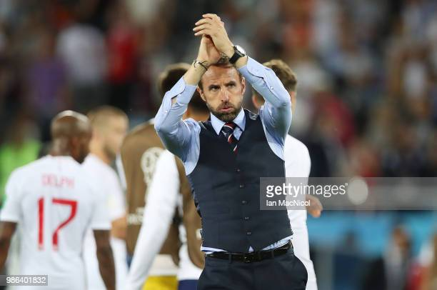 England manager Gareth Southgate is seen during the 2018 FIFA World Cup Russia group G match between England and Belgium at Kaliningrad Stadium on...