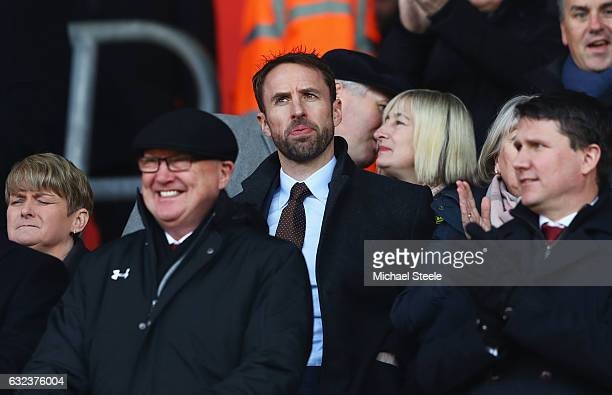 England manager Gareth Southgate is seen in the stand prior to the Premier League match between Southampton and Leicester City at St Mary's Stadium...