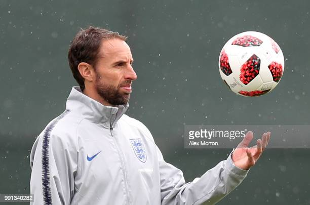 England manager Gareth Southgate juggles a ball during an England training session on July 4 2018 in Saint Petersburg Russia