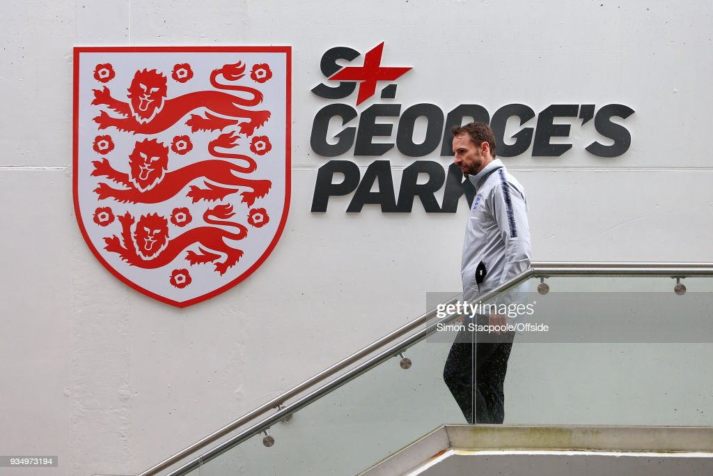 England manager Gareth Southgate leaves at the end of an England training session at St. George's Park on March 20, 2018 in Burton-upon-Trent, England.