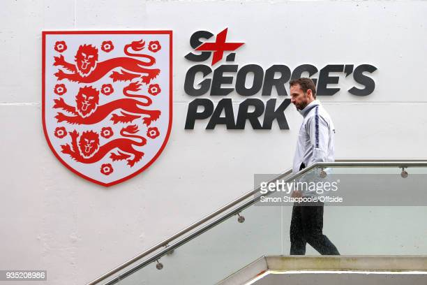 England manager Gareth Southgate leaves at the end of an England training session at St George's Park on March 20 2018 in BurtonuponTrent England