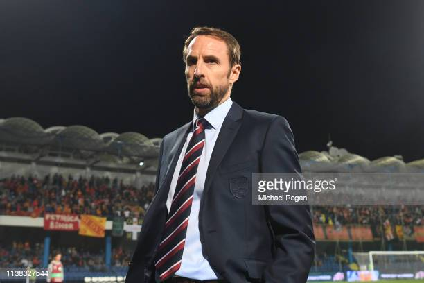 England manager Gareth Southgate looks on before the 2020 UEFA European Championships group A qualifying match between Montenegro and England at...
