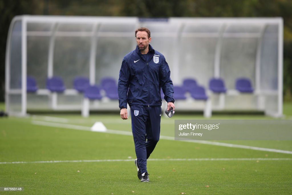 England manager Gareth Southgate looks on during an England training session at Hotspur Way on October 4, 2017 in Enfield, England.