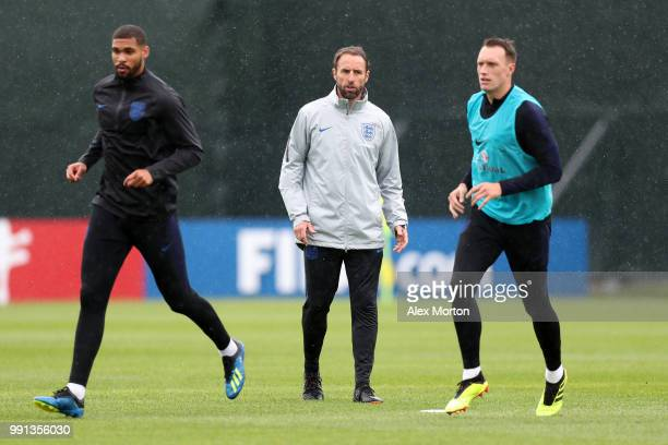 England manager Gareth Southgate looks on during an England training session on July 4 2018 in Saint Petersburg Russia