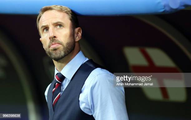 England manager Gareth Southgate looks on during the 2018 FIFA World Cup Russia Semi Final match between England and Croatia at Luzhniki Stadium on...