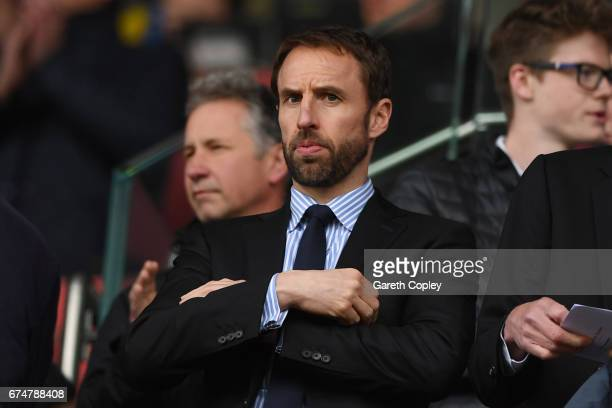 England manager Gareth Southgate looks on during the Premier League match between Stoke City and West Ham United at Bet365 Stadium on April 29 2017...