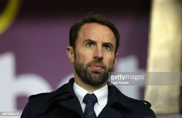 England Manager Gareth Southgate looks on during the Premier League match between Burnley and Tottenham Hotspur at Turf Moor on December 23 2017 in...