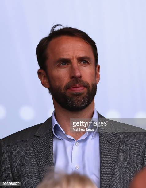 England manager Gareth Southgate looks on during the UEFA European Under17 Championship Semi Final match between England and the Netherlands at the...