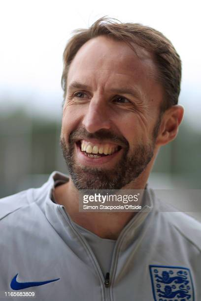 England manager Gareth Southgate smiles during an England training session at St. George's Park on September 2, 2019 in Burton-upon-Trent, England.