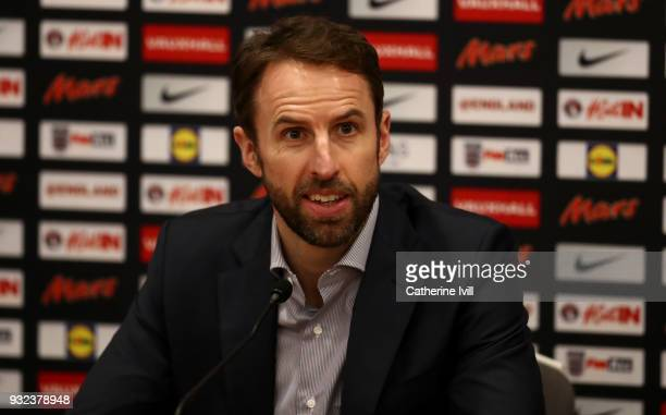 England manager Gareth Southgate speaks to the media during a press conference at St Georges Park on March 15 2018 in BurtonuponTrent England