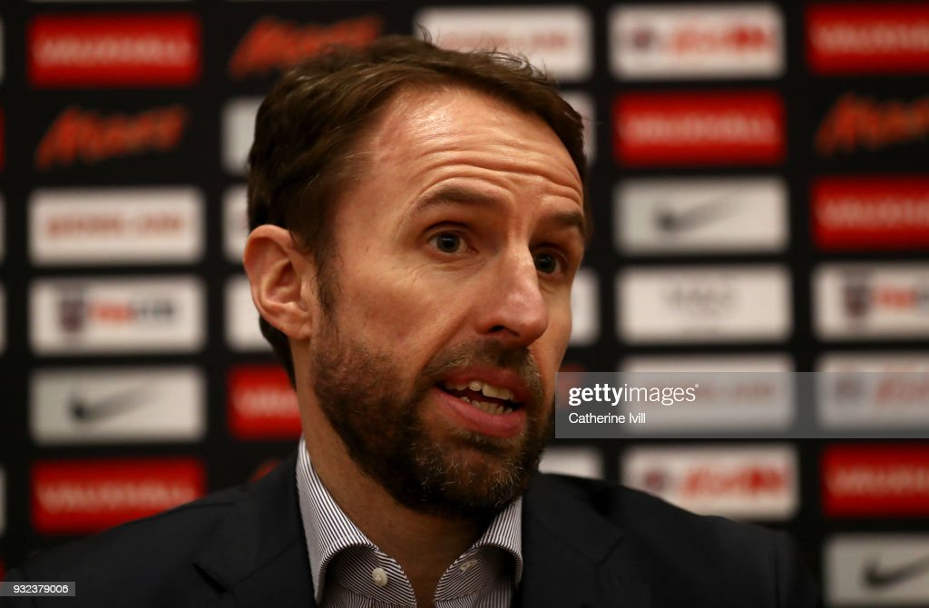 England manager Gareth Southgate speaks to the media during a press conference at St Georges Park on March 15, 2018 in Burton-upon-Trent, England.
