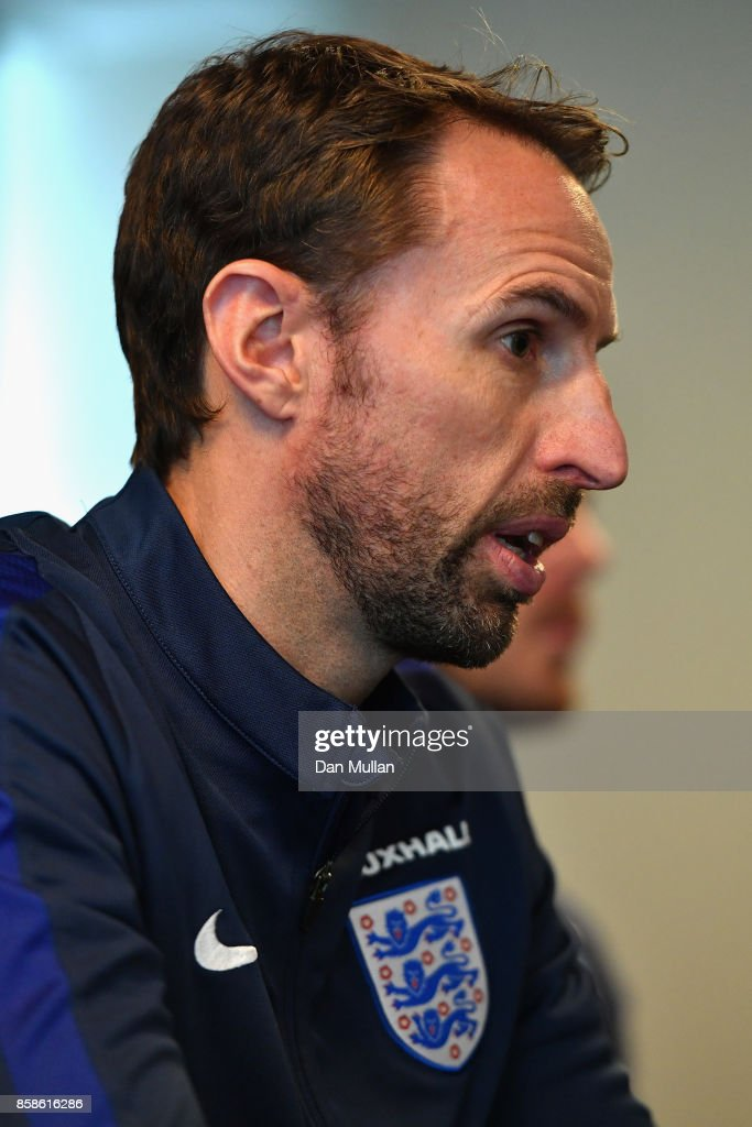 England manager Gareth Southgate speaks to the media during an England press conference at the Novotel in Vilnius at a Media Access day on October 7, 2017 in Vilnius,