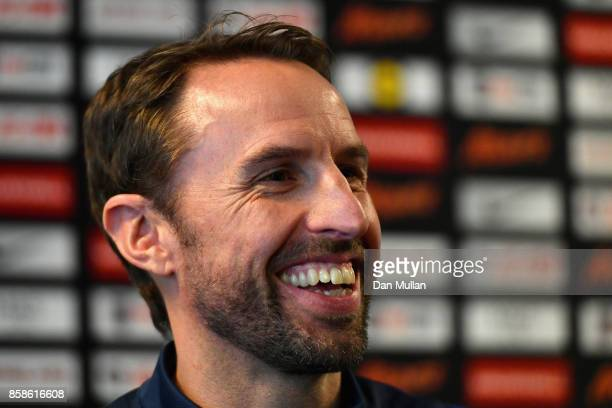 England manager Gareth Southgate speaks to the media during an England press conference at the Novotel in Vilnius at a Media Access day on October 7...