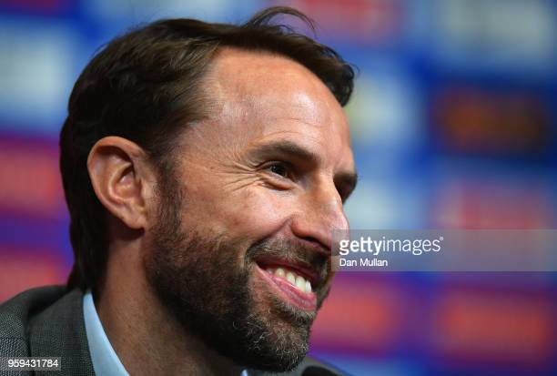 England Manager Gareth Southgate speaks to the media during an England press conference at Wembley Stadium on May 17 2018 in London England Gareth...