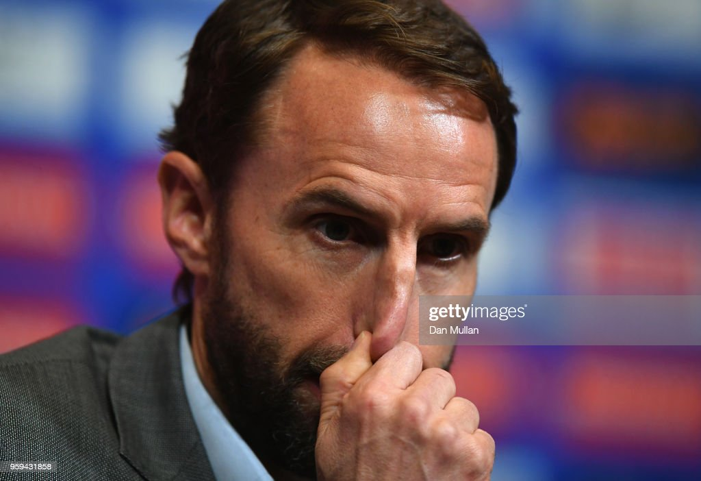 England Manager, Gareth Southgate speaks to the media during an England press conference at Wembley Stadium on May 17, 2018 in London, England. Gareth Southgate's 23 man squad was announced on Wednesday.