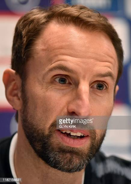 England manager Gareth Southgate takes part in a press conference at The Grove Hotel in Watford north of London on November 13 2019 on the eve of...
