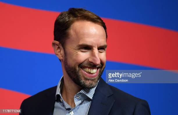 England Manager Gareth Southgate talks to the press during a England Squad Announcement at Wembley Stadium on October 03, 2019 in London, England.
