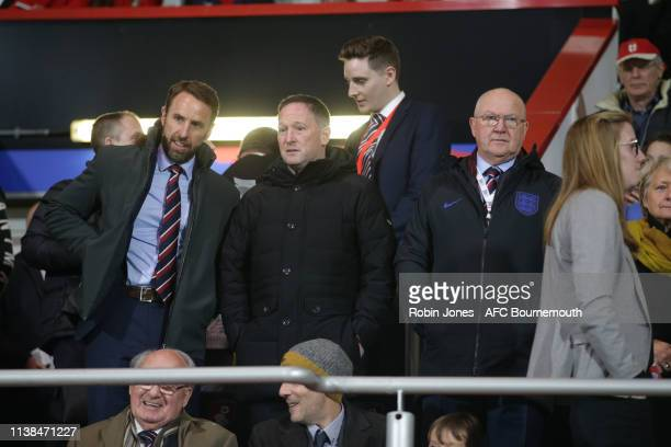 England manager Gareth Southgate with assistant Steve Brown and Les Reed FA Technical Director during England U21 v Germany U21 International...
