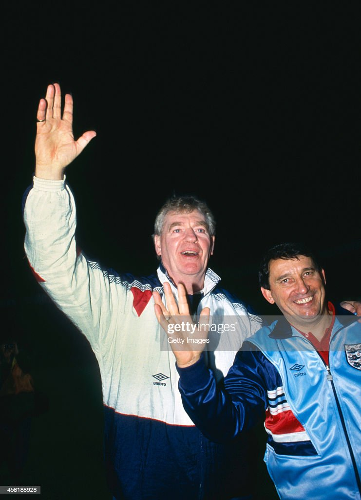 England manager Graham Taylor (r) and assitant Lawrie McMenemy celebrate qualification for Euro 92' after a 1-1 draw against Poland at the Lecha Stadium on November 13, 1991 in Poznan, Poland.